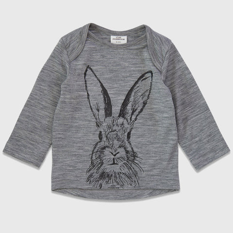 New Zealand Merino Hector the Hare Print Top  in Grey Marl - 6 - 12 months