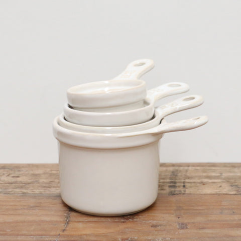 White Ceramic Measuring Cup Set