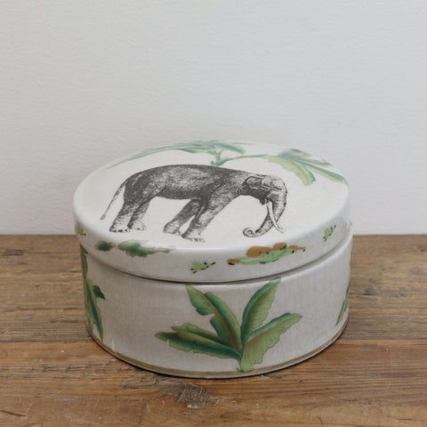 Elephant Safari Round Ceramic Box with Lid