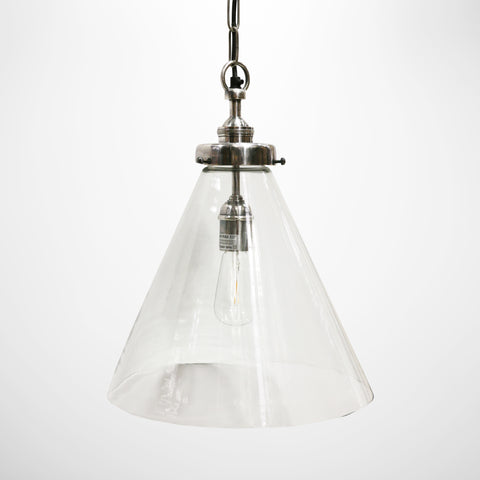 Glass Hanging Lamp with Brushed Pewter Style Fitting - Medium