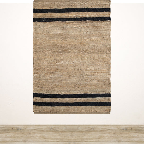 Natural Jute Rug with Black Stripe 1200x1800