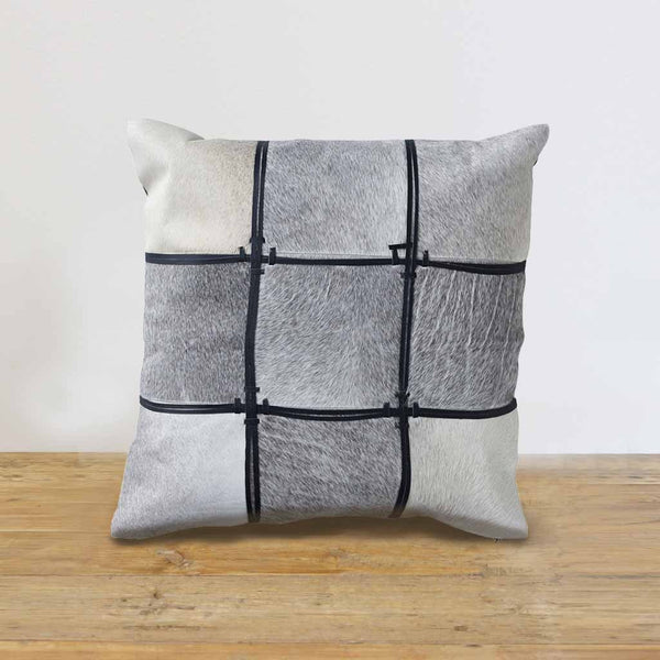 Cow Hide Leather Patchwork Cushion Cover