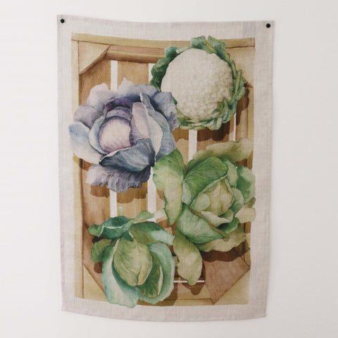 Cabbages Linen Tea Towel