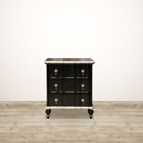 Ripple Front Mahogany Bedside in Black & Silver Leaf
