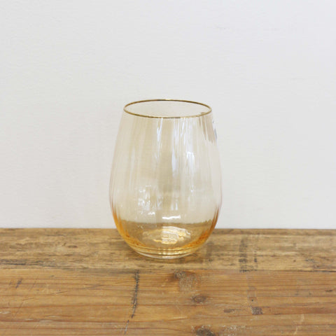 Gold Dust Stemless Wine Glass