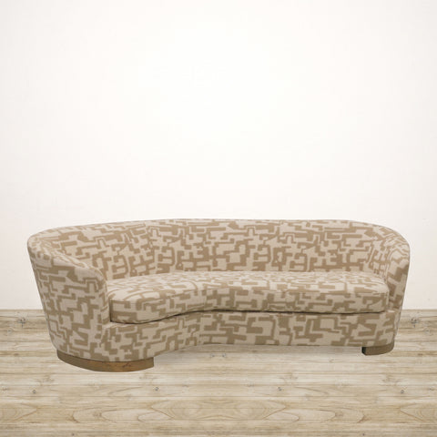 Ascot Couch in Beige and Natural Checked Fabric