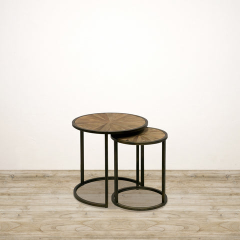 Cairo Round Nesting Tables in Reclaimed Elm with Metal Legs