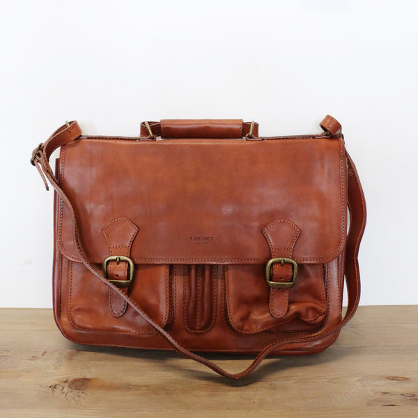 Buckle Front Leather Satchel in Tan