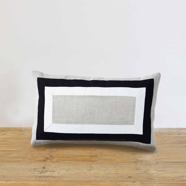 Linen Modena Border Lumbar Cushion Cover 30 x 50