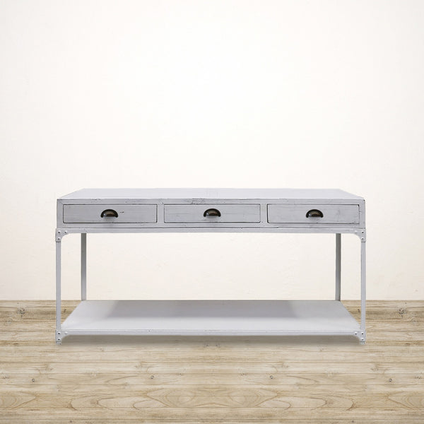 Industrial Recycled Pine Console With Metal Shelf in White Wash