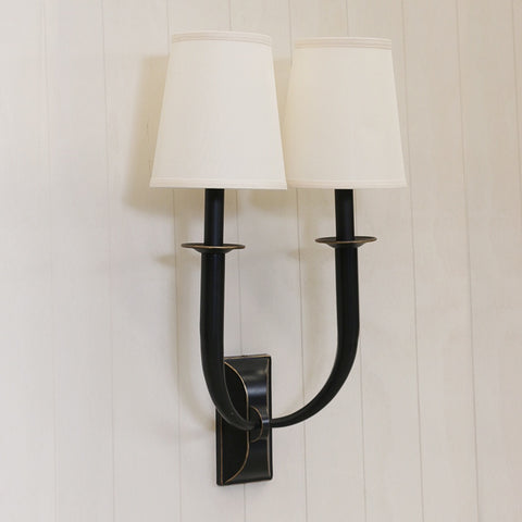 Manhattan 2 light Wall Sconce in Antique Black with Shades