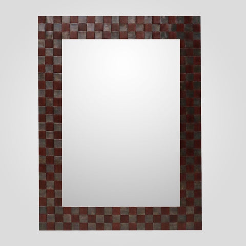 Leather Mirror with Metal Detail