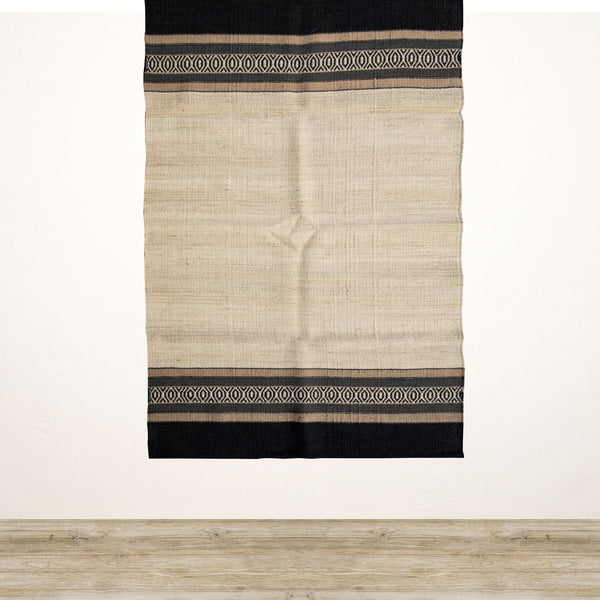 Natural Jute Rug with Tribal Stripe Edge