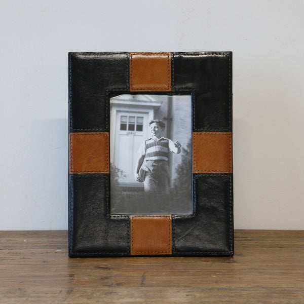 Leather Photo Frame in Black & Tan