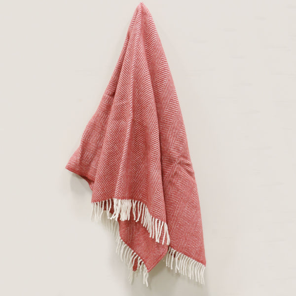 Wool Throw in Cranberry Red