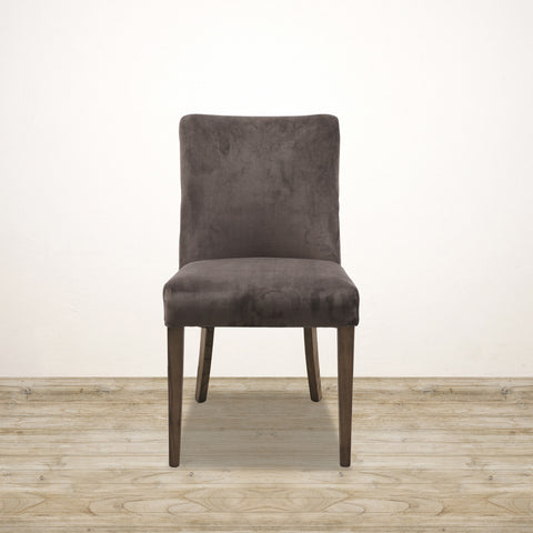 Bastide Chair in Chocolate Velvet with Oak Legs