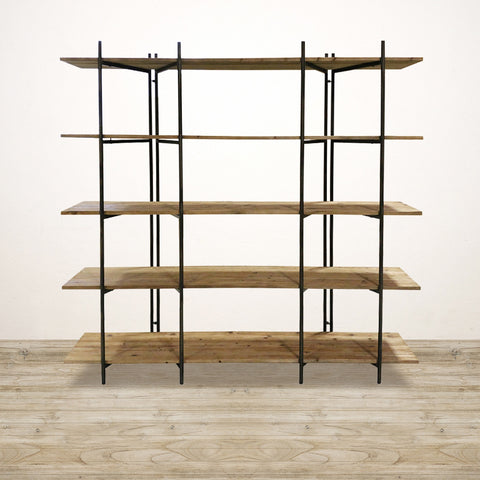 Double Bay Shelving Unit In Recycled Pine and Metal