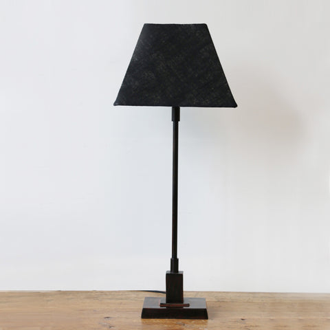 Rectangular Base Lamp in Bronze Finish