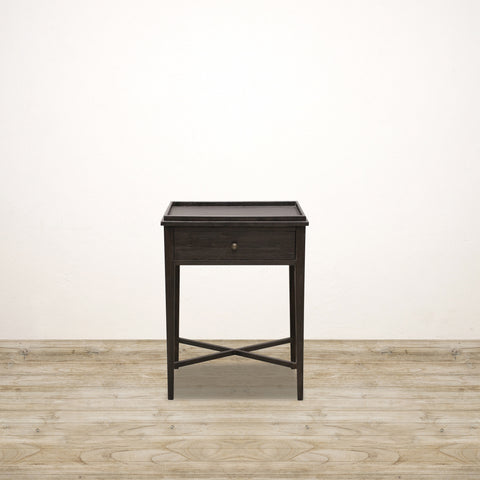 Bedside Table with Drawer in Dark Oak
