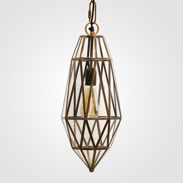 Hamptons Brass & Glass Hanging Hexagonal Light