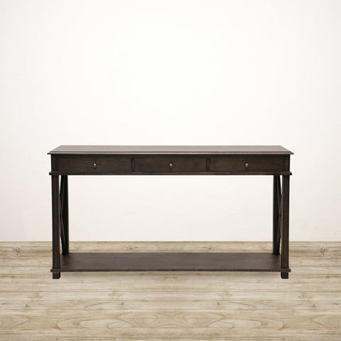 Oak Console with 3 Drawers in Charcoal Finish
