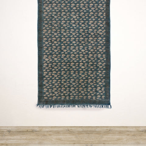 Blue Paisley Handwoven Cotton Rug 1200x1800