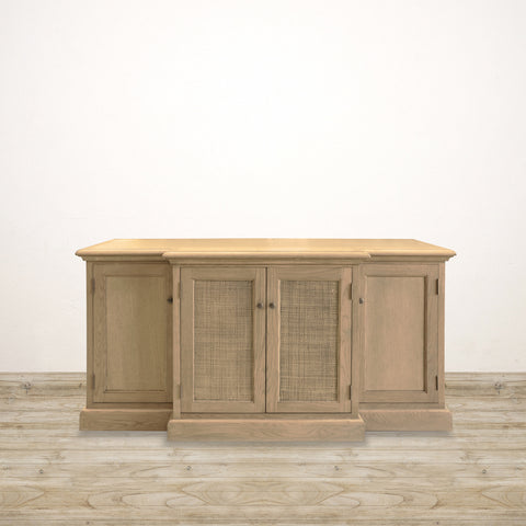Raffles Entertainment Unit in Weathered Oak with Cane Panel Detailing