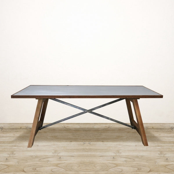 Industrial Dining Table with Zinc Top