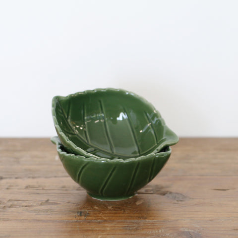 Green Vine Leaf Round Dish Small