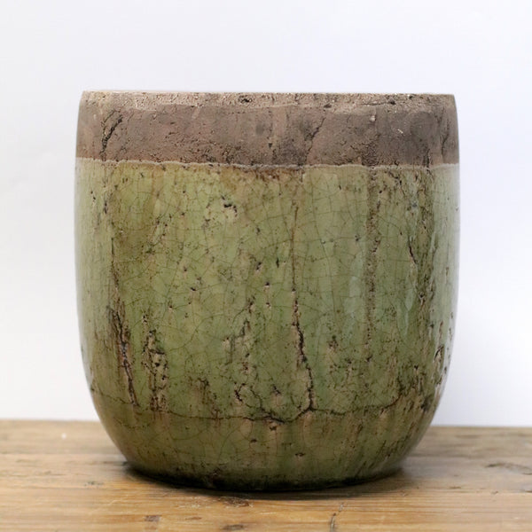 Earthen Green Glazed Terracotta Pot - Large
