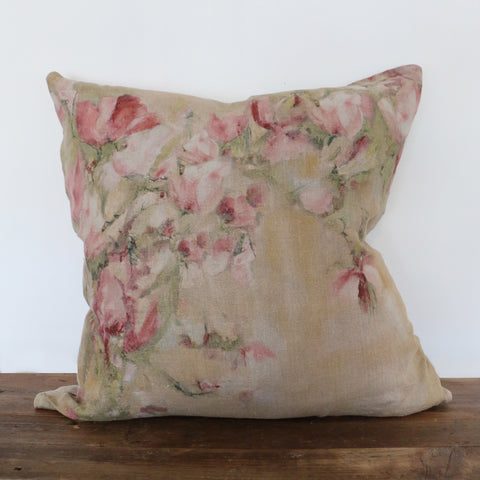 Magnolia Limone Linen Cushion Cover