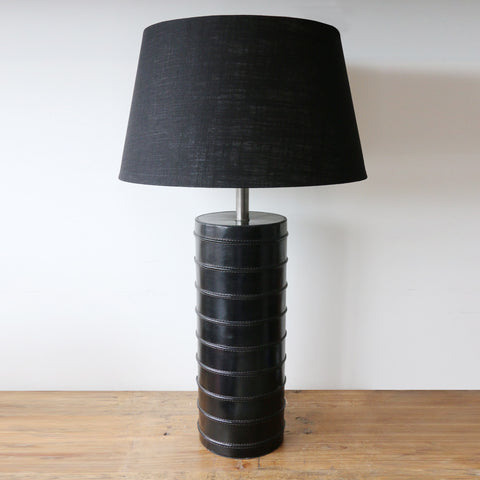Savoy Leather Lamp in Black with Ridges