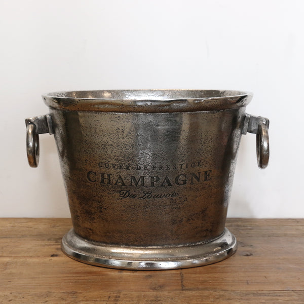Oval Champagne Bucket in Antique Nickle Finish