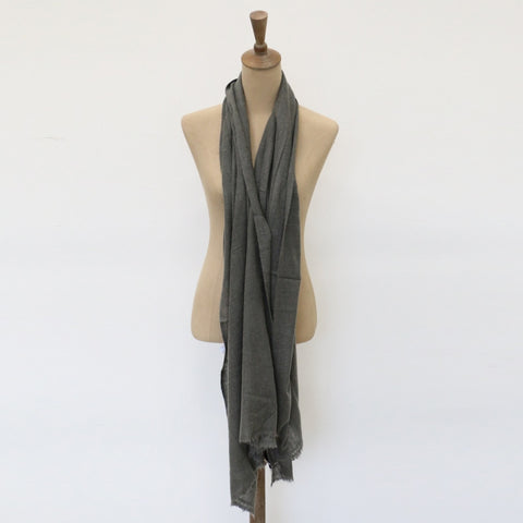 Cashmere and Wool Scarf in Khaki