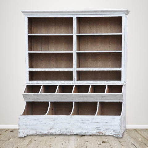 Large Vintage White Display Bookcase in Recycled Pine
