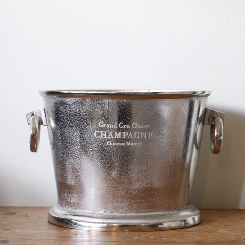 Engraved Oval Champagne Bucket in Antique Nickel Finish