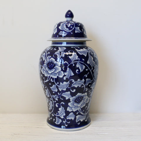Blue and White Peony Tall Ginger Jar