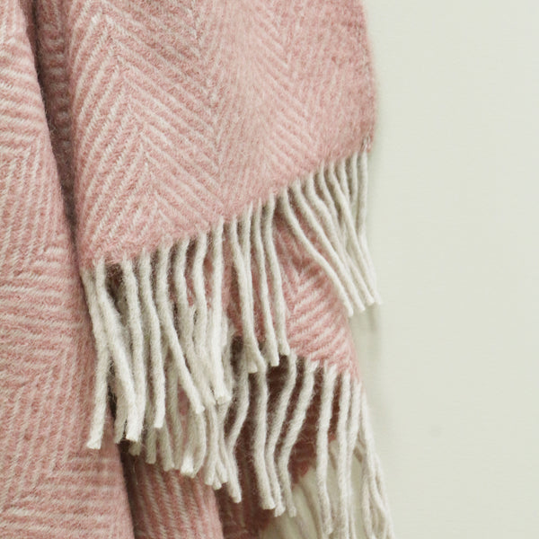 Wool Herringbone Throw in Taupe & Pink