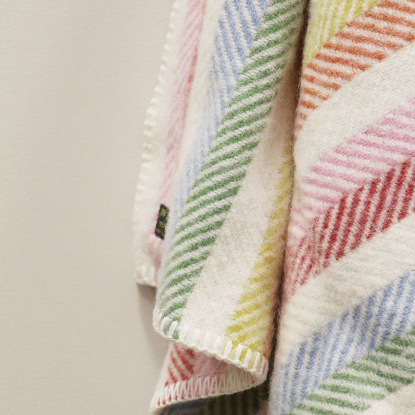 Wool Pram Blanket in Rainbow Stripe