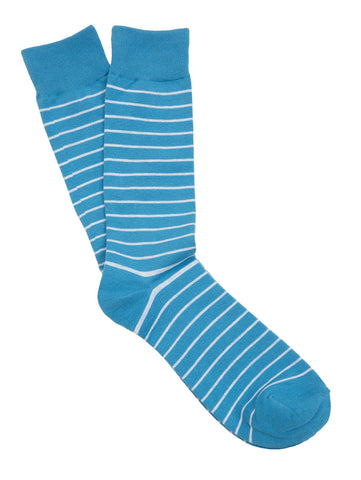Blue & White Striped Socks for Men