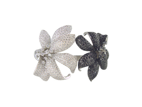 b2622 bracelet two flowers pave'