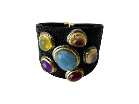 b2688 bracelet stingray leather and natural stones