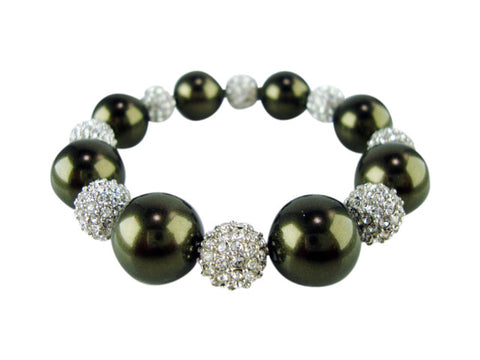 B707 pearl and pave' bracelet