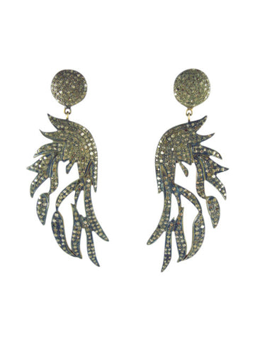 D1002 Earring wings diamonds