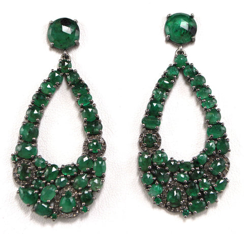 D3100 emerald & diamonds earring