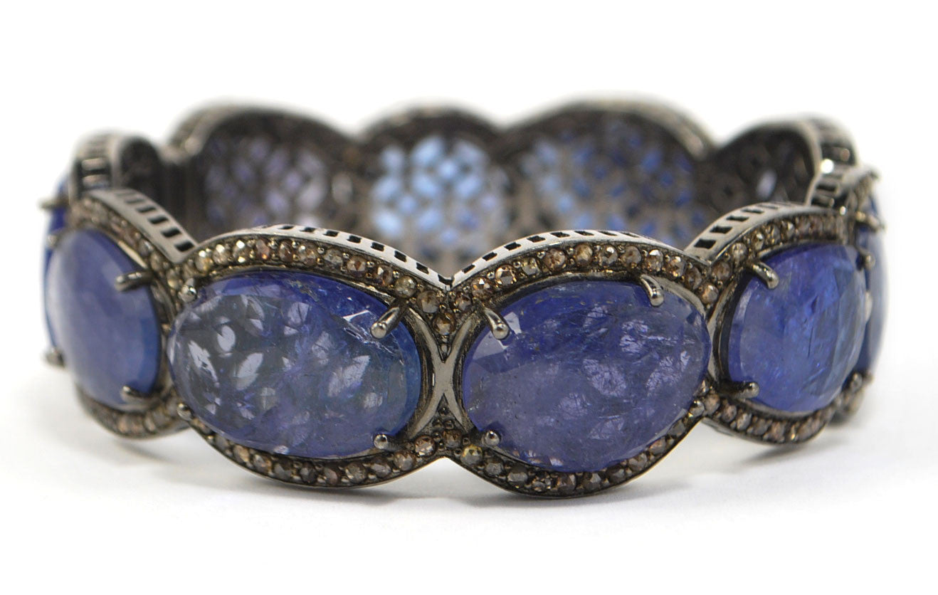 in silver sterling bracelet tanzanite pin