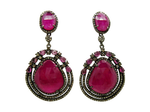 D3122 rubies and diamonds earring