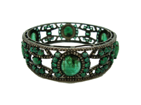 D3123 emeralds and diamonds bracelet