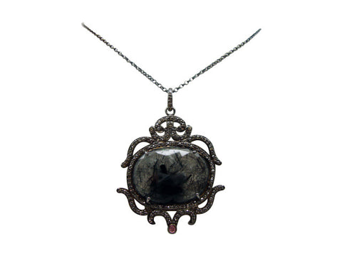 D3124rutilated quartz and diamonds necklace