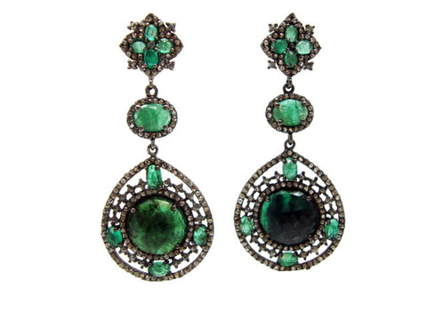 D3130 emeralds and diamonds earring